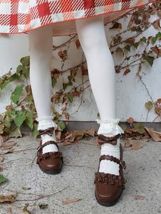 Bombas Clássico 2020 Lolita Sapatos Plissado Arco Tira No Tornozelo Pu Lolita