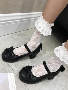 Lolita Clássica Pump Bow Filhote Calcanhar Lolita Mary Jane Sapatos
