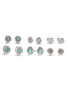 Pendientes de botón de plata de las mujeres Boho 6 Piezas Conjuntos de pendientes
