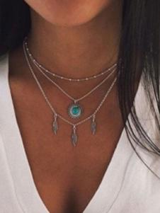 Серебряная Цепочка Ожерелье Слоистых Ожерелье Boho Женщины Ювелирные Изделия
