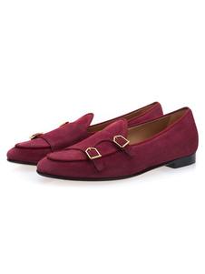 الرجال الراهب الأحذية الجلد2020 المدبوغ جلدية جولة تو إبزيم التفاصيل الانزلاق على المتسكعون