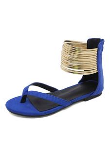 Sandali bassi blu per donna 2020 con cinturino in pelle scamosciata alla caviglia