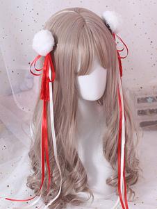 Accessorio per capelli Lolita rosso con fiocco in nappa stile cinese