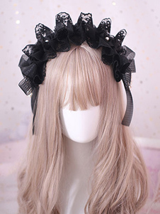 Gothic Lolita Hair Accessory Ruffle Bow Pearl Lace Black Lolita Headdress