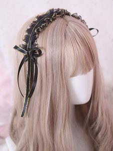الكلاسيكية لوليتا غطاء للرأس كشكش الدانتيل القوس الأسود لوليتا الشعر التبعي