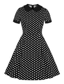 Vestido vintage preto 1950 manga curta Peter Pan Collar polka Dot vestido de verão