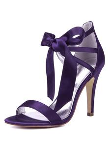 Cetim mãe sapatos roxo dedo do pé aberto recorte lace up sapatos de casamento de salto alto sapatos de noiva