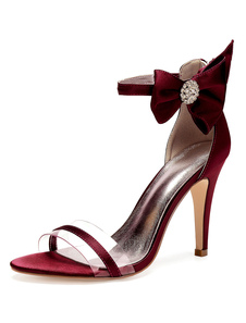 Cetim Mãe Sapatos Borgonha Toe Aberto Strass Arco Tira No Tornozelo Sapatos De Casamento