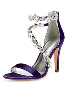 Sandálias de salto alto mulheres dedo do pé aberto strass sapatos de casamento de tiras de cetim nupcial sapatos