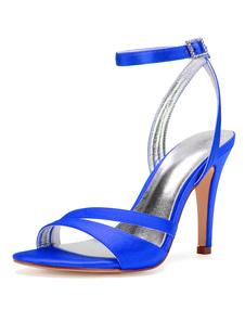 Zapatos de novia de satén Zapatos de Fiesta de tacón de stiletto Zapatos azul  Zapatos de boda de puntera abierta 10.5cm con pedrería