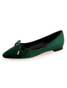 Mujeres Ballet 2020 Planos Terciopelo Zapatos Puntiagudoas Corbatín Ponte En Los Zapatos De Zapatos Planos Verdes