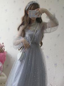 Сладкая Лолита OP Платье Блесток Рюшами Тюль Лолита One Piece Платье