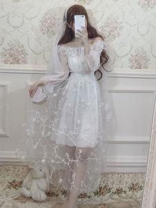 الحلو لوليتا المرجع فستان كشكش زهرة تول الأبيض لوليتا اللباس قطعة واحدة