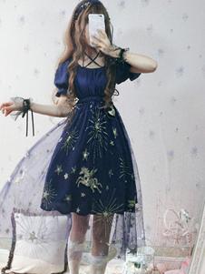 Классический Лолита OP Платье Летающая Лошадь Звездное Небо Рюшами Тюль Синее Лолита One Piece Платье