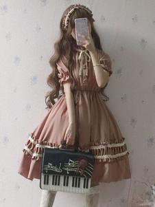 Lolita Clássico OP Vestido Laço 2020 Arco Ruffle Dois Tons Lolita Uma Pedaços Vestido