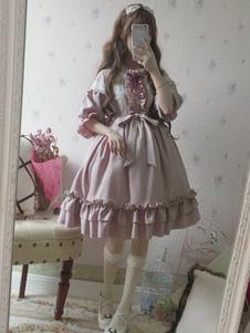 الكلاسيكية لوليتا اللباس OP عام٢٠١٩بروفانس لافندر مطوي القوس الدانتيل لوليتا اللباس قطعة واحدة