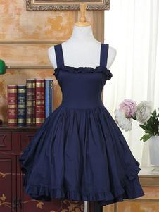 Vestido clásico de Lolita JSK Ruffle Bow Lace Up Falda azul marino plisada de Lolita Jumper