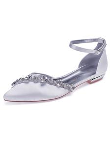 أحذية الزفاف الأبيض صقيل وأشار اصبع القدم أحذية الراين وصيفه الشرف الأحذية المسطحة الزفاف