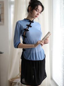 Сексуальный школьный костюм Qipao Dress Blue Cheongsam Set Top и юбка Хэллоуин