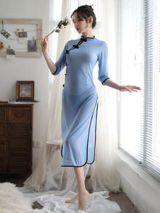 Сексуальный школьный костюм Qipao Dress Blue Cheongsam Lingerie Halloween Хэллоуин