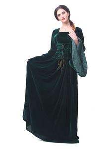 عيد الرعبفساتين الرجعية القرون الوسطى نهضة المرأة القطيفة كم طويل الساحرة الملكة ثوب تأثيري حلي