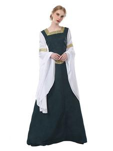 Disfraz Carnaval Disfraz Medieval Medieval Reina Renacimiento Mujere Gótico Victoriano Cosplay Maxi vestido Vestido de la Vendimia Halloween 2020 Carnaval