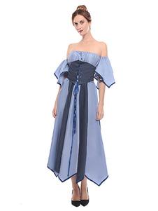 عيد الرعبريترو زي النهضة في القرون الوسطى قبالة الكتف اللباس النساء