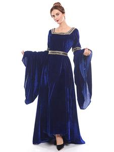 Disfraz Carnaval Disfraz Medieval Traje Medieval Renacimiento Mujer Gótico Vestidos de Manga Larga Retro Halloween 2020 Carnaval