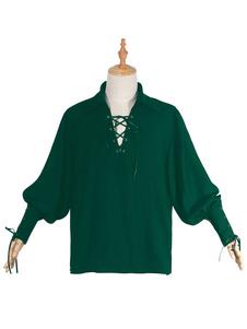 عيد الرعبالقرون الوسطى نهضة القميص الأخضر القراصنة فارس الفلاحين القميص هالوين زي أعلى