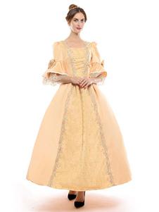 プリンセス 女性用 貴族ドレス 中世 ドレス イエロー 五分袖 サテンファブリック マルディグラ ドレス ヴィクトリア風 中世 ドレス・貴族ドレス ヨーロッパ 宮廷風 レトロ