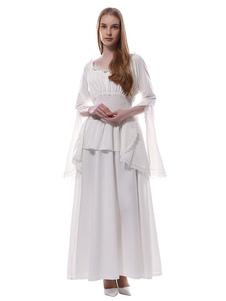 Disfraz Carnaval Disfraz Medieval Mujer Vestido Medievale Blanco Victoriano Chiffon Maxi Disfrace de Halloween 2020 Carnaval