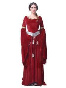 Medieval Renascentista Traje Vestido Retro Long Sleeve Velour Mulheres gótico vitoriano vestido Halloween