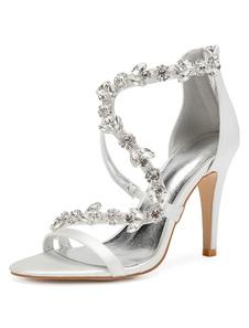 Scarpe da sposa in raso Viola Open Toe Strass Zip Up Strappy scarpe da sposa tacco alto