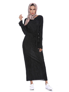 Mulheres muçulmano vestido de manga comprida em torno do pescoço Shaping vestido Abaya