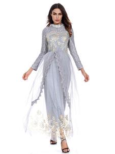 Abito donna musulmano manica lunga girocollo pizzo ricamato in tulle che modella Abaya