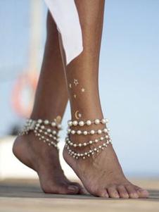 Pulseira de tornozeleira pérola jóias praia em camadas para as mulheres
