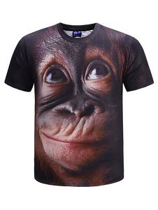 Черная мужская футболка 3D с принтом животных с коротким рукавом повседневная футболка