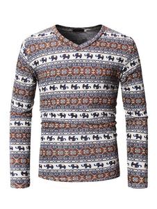 Homens manga comprida camiseta com decote em V estilo étnico Undershirt Animal Print Brown Casual Shirt
