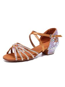 Атласная бальная обувь Коричневый с открытым носком Criss Cross Стразы для латинских танцев