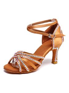 الساتان أحذية الرقص البني المفتوح تو أحجار الراين كريسس الصليب اللاتينية الرقص أحذية نسائية أحذية قاعة