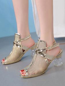 Salto de bloco Sandálias de ouro Peep Toe Cut Out Slingbacks sandália sapatos para mulheres