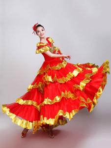 عيد الرعبباسو دوبل الرقص ازياء الأحمر والذهب منزعج الثوب فلامنكو اللباس أداء الرقص