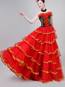 Trajes de Dança Paso Doble Ruffles Vermelhos Tourada Flamenco Vestido de Dança Em Camadas Traje de Performance Em Camadas Halloween