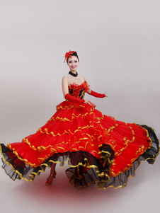 Disfraz Carnaval Spanish Bull Dance Red Flamenco Layered Ballroom Gypsy Paso Doble Traje de baile Halloween Carnaval