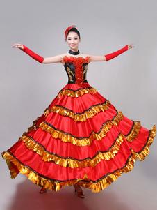 Disfraz Carnaval Paso Doble Trajes de baile Mujeres con volantes Taurinas Traje de baile de flamenco Rendimiento Disfraz Halloween Carnaval