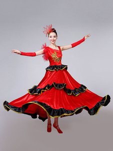 Traje de dança de salão traje vermelho e preto Traje de dança assimétrico de flamenco Halloween