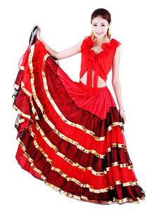 Disfraz Carnaval Traje de baile español de Paso Doble 2020 Falda de flamenco Pantalón de baile taurino rojo Halloween Carnaval