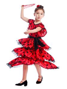 Vestidos de dança flamenca Crianças espanhol Red Bullfighting Paso Doble Dancing Costume Halloween