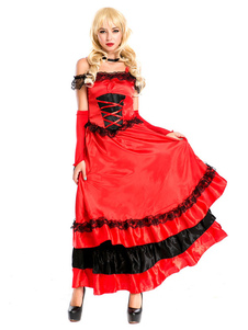 Disfraz Carnaval Trajes de baile flamenco Paso Doble Traje de baile Red Bullfighting Bottoms Halloween Carnaval