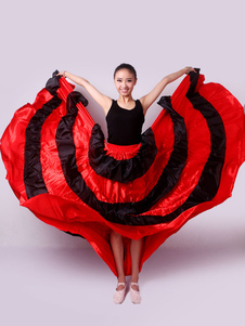 Costume da ballo Paso Doble Gonna flamenco Rosso Corrida spagnola Prestazioni Bottom Halloween